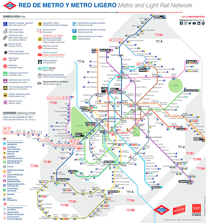 Image of the subway map of Madrid 2019 in the year of its celebration centenary